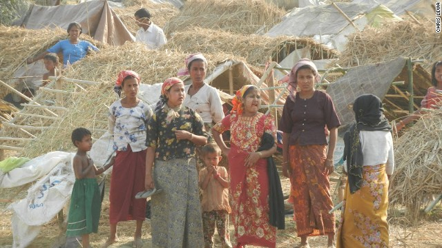 Muslim Rohingya people pictured at a makeshift camp in May this year near Sittwe, the capital of Rakhine state.