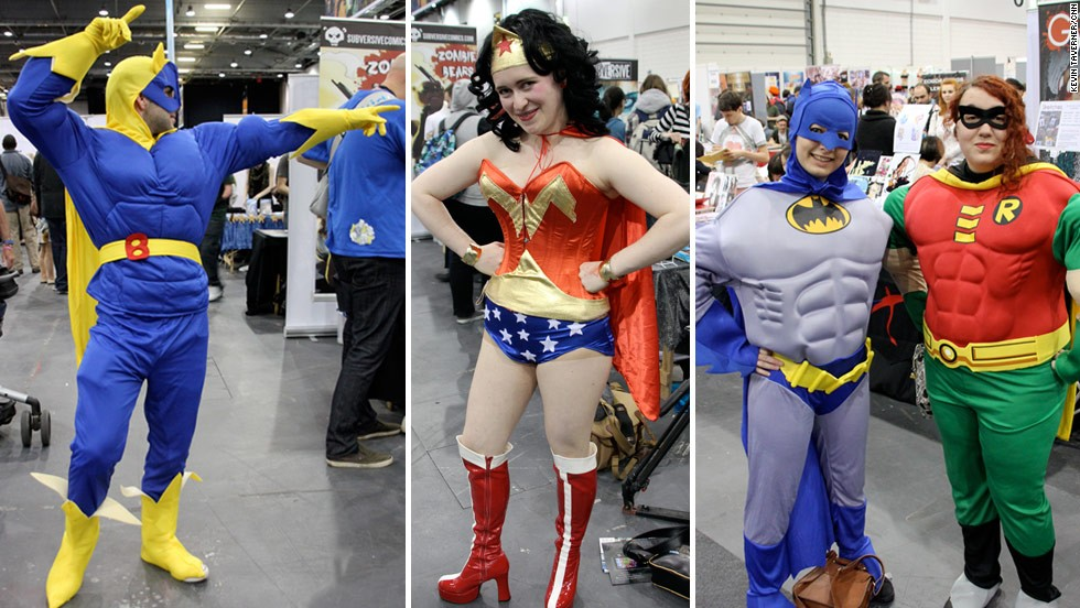 """But old classics like Bananaman (left) are still popular. Esme and Ellen decided to dress up as Batman and Robin. """"The muscles won us over""""."""
