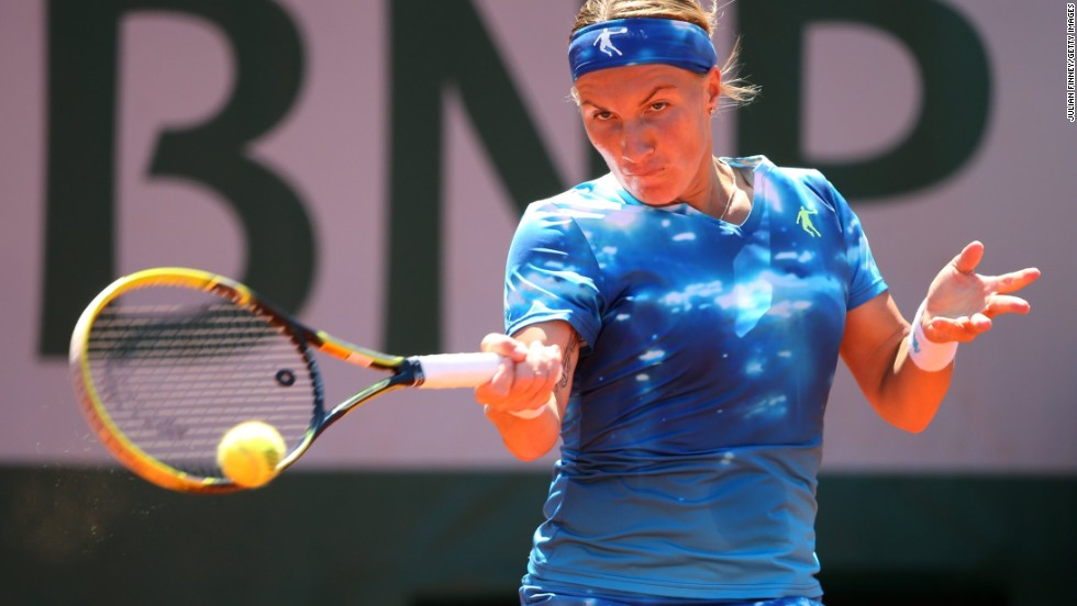 Kuznetsova returns a forehand to Williams during the match on June 4.