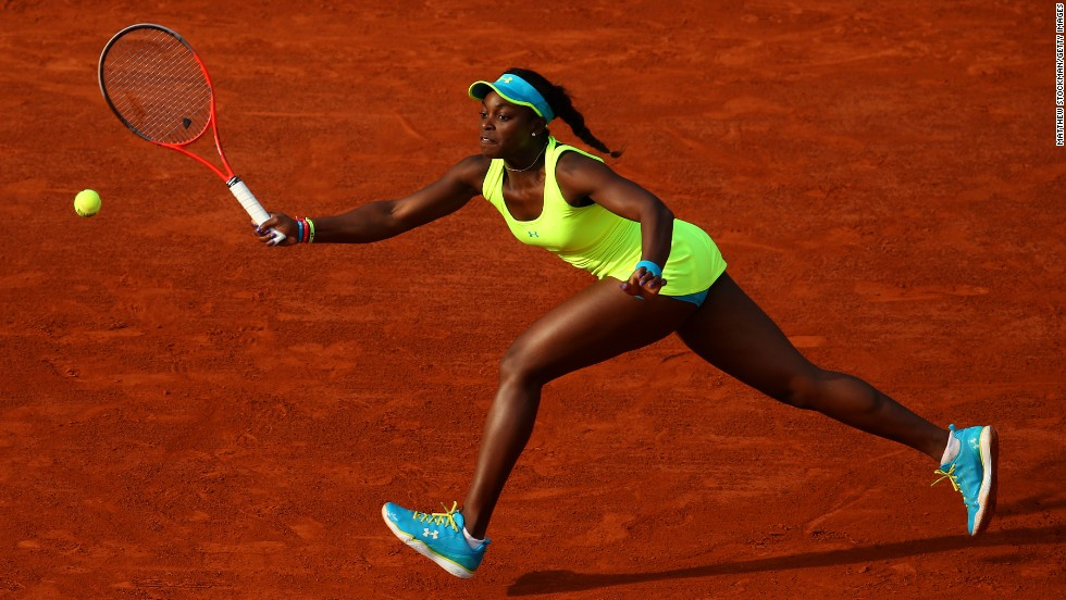 USA's Sloane Stephens plays a forehand during her match against Russia's Maria Sharapova on June 3.