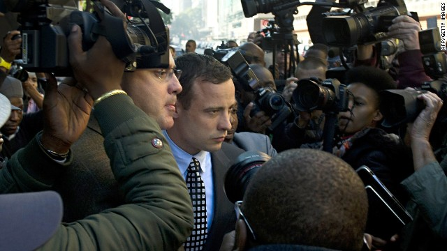 "The judge in the case of Oscar Pistorius -- seen leaving court in Pretoria on June 4, 2013 -- has warned of ""trial by media."""
