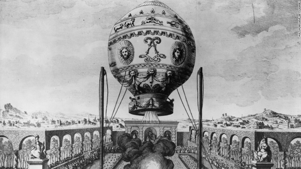 They developed from the hot air balloon; the Montgolfier brothers launched the first manned balloon flight in Paris in 1783.