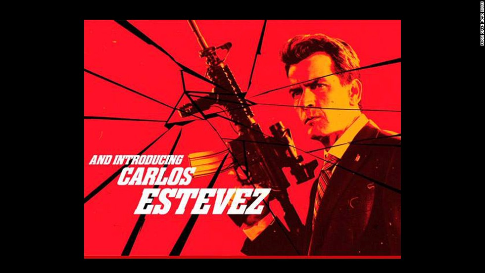"Charlie Sheen, here billed as Carlos Estevez, in this screen grab from Robert Rodriguez's upcoming film, ""Machete Kills."""