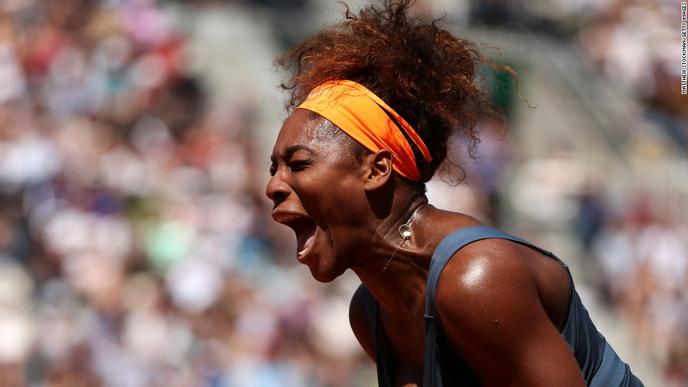 Serena Williams of the U.S. celebrates a point during her win over Svetlana Kuznetsova of Russia during the women's singles quarter-final match June 4. Williams defeated Kuznetsova 6-1, 3-6, 6-3.