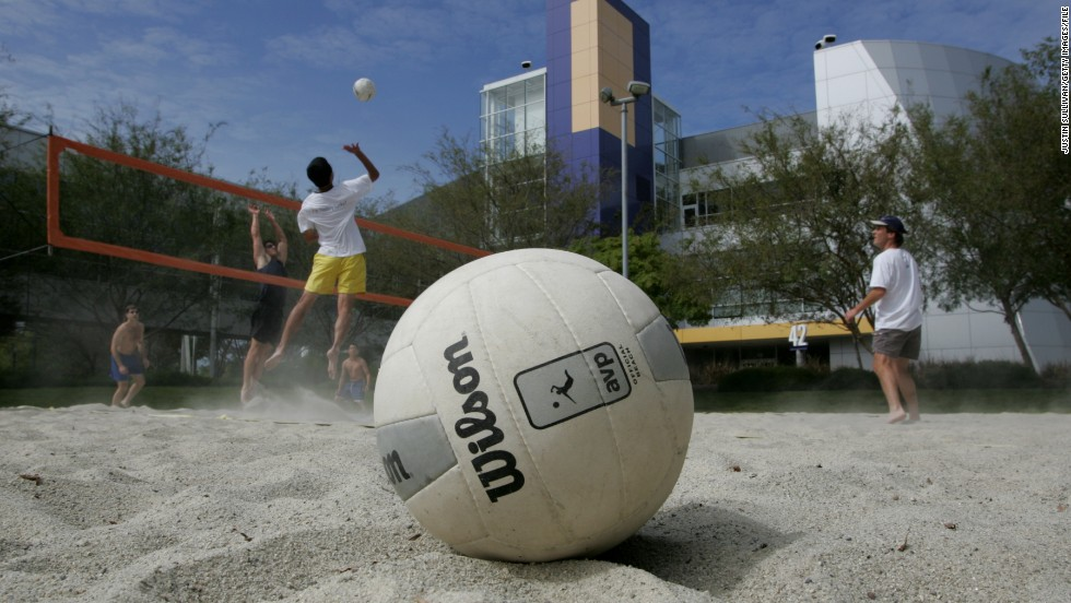 It may seem like a Hollywood exaggeration, but yes, Googlers really do play volleyball at work.