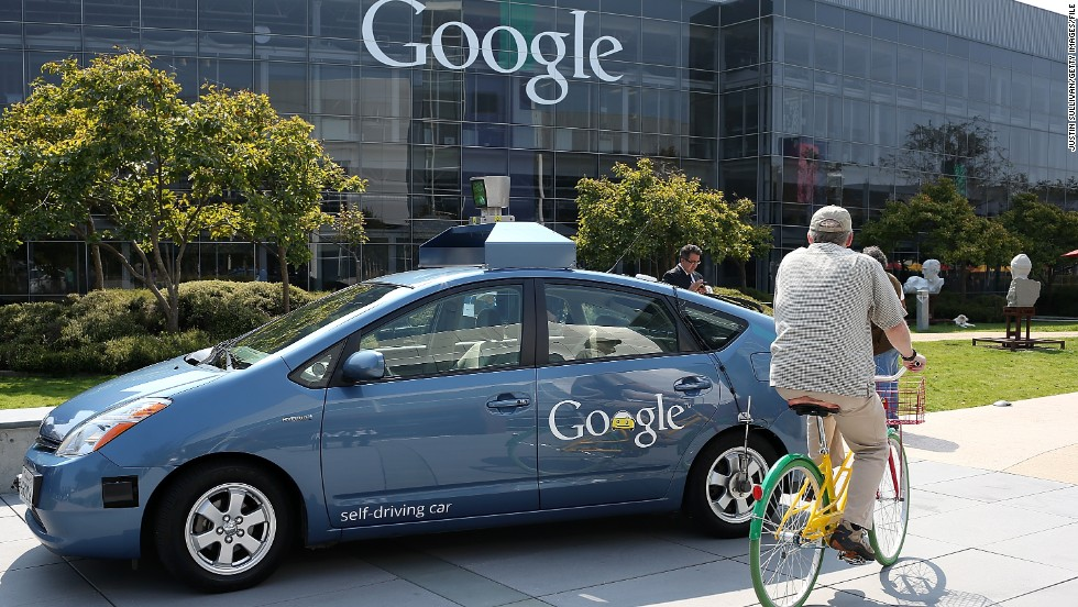 "Google's experimental self-driving cars, shown here at Google in September 2012, make a cameo in ""The Internship."" But a scene in which a driverless car crashes was cut from the movie."