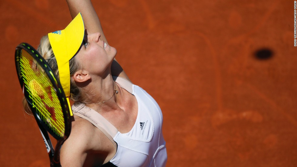 Russia's Maria Kirilenko serves to Belarus' Victoria Azarenka during their quarterfinal match at the French Open at the Roland Garros stadium in Paris on Wednesday, June 5. Azarenka beat Kirilenko 7-6(3), 6-2.