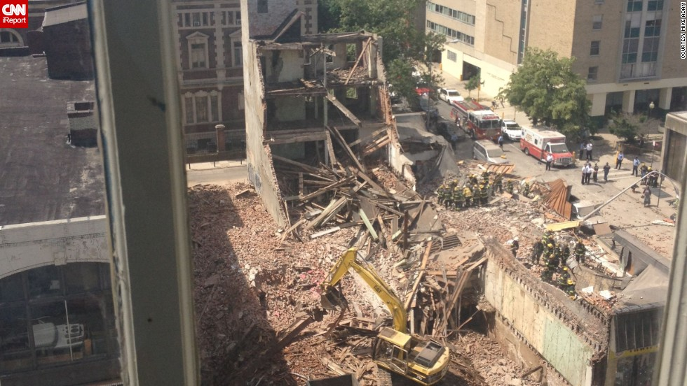iReporter Mike Adam shot this photo of the collapse from his apartment building across the street.