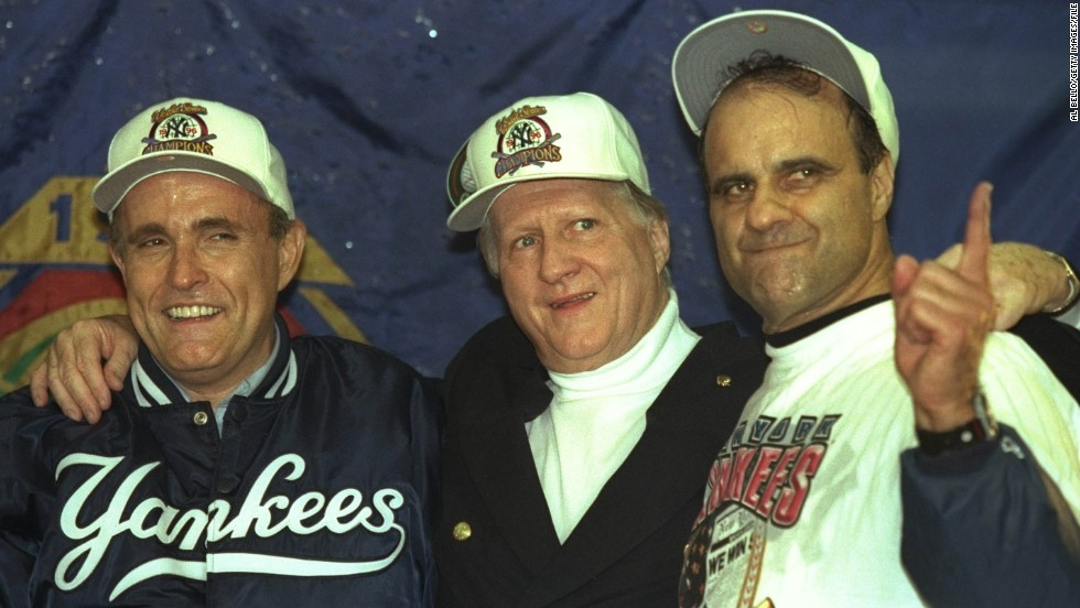 Former New York Yankees owner George Steinbrenner, center, was banned for life in 1990 for hiring a man to investigate Yankees outfielder Dave Winfield's background for any dirt. The ban was later reduced to a two-year suspension.