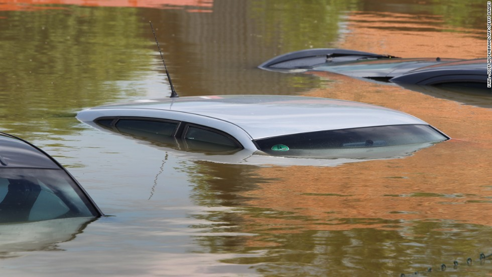 Submerged cars peak out of the flood in Deggendorf, Germany.