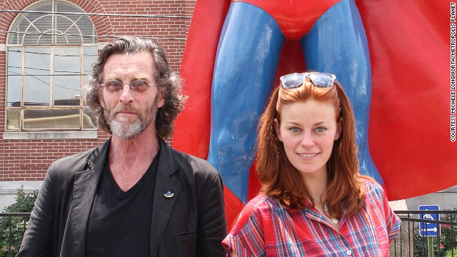"John Glover (left) and Cassidy Freeman from the series ""Smallville"" are just two to have posed with Superman's legs."