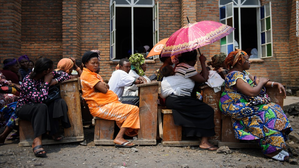 People attend a service at the Katinde Nazareen church in Goma.