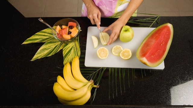 Cut up fruit after shopping so you have a healthy snack.