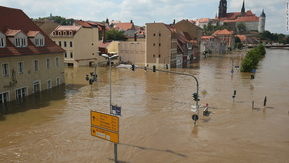 The Elbe floods the historic city center of Meissen, Germany, on June 6.