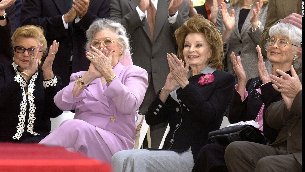 Williams, left, along with Ann Rutherford, Cara Sue Collins and Betty Garrett, attends a ceremony for Ted Turner's star on the Hollywood Walk of Fame on April 8, 2004.