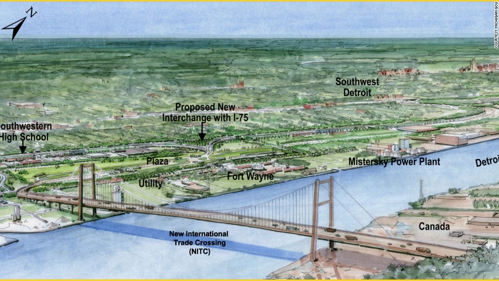 An artists rendering of the New International Trade Crossing between Windsor, Ontario, and Detroit, Michigan. The $950 million project aims to increase opportunities for businesses and entrepreneurs in both Canada and the U.S.