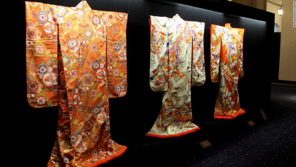Kimono exhibition at the Sao Paulo State Government Palace, organized in celebration of the 105th anniversary of Japanese immigration to Brazil. The first settlers came to escape poverty in Japan and work on Brazil's coffee plantations which were in need of laborers after the abolition of slavery.