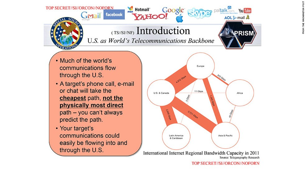 The Washington Post said it had been provided a detailed briefing presentation document on the program, called PRISM. This slide explains how international traffic is intercepted as it passes through the United States.