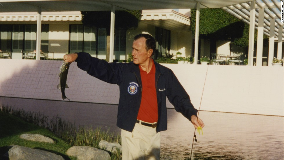 Former President George H.W. Bush fishing in one of the many well-stocked lakes in 1995.