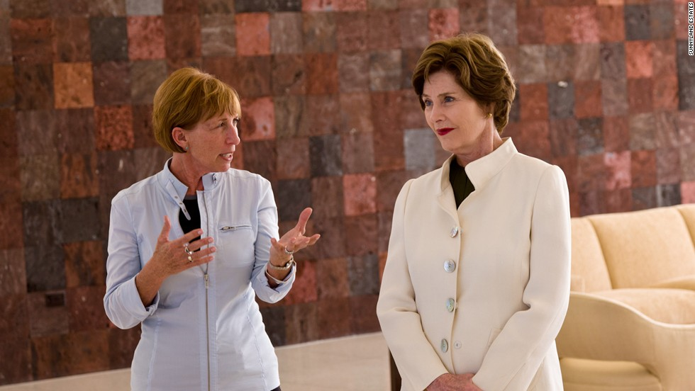 Former first lady Laura Bush, right, talks with Sunnylands Center and Gardens Director Janice Lyle in 2011.