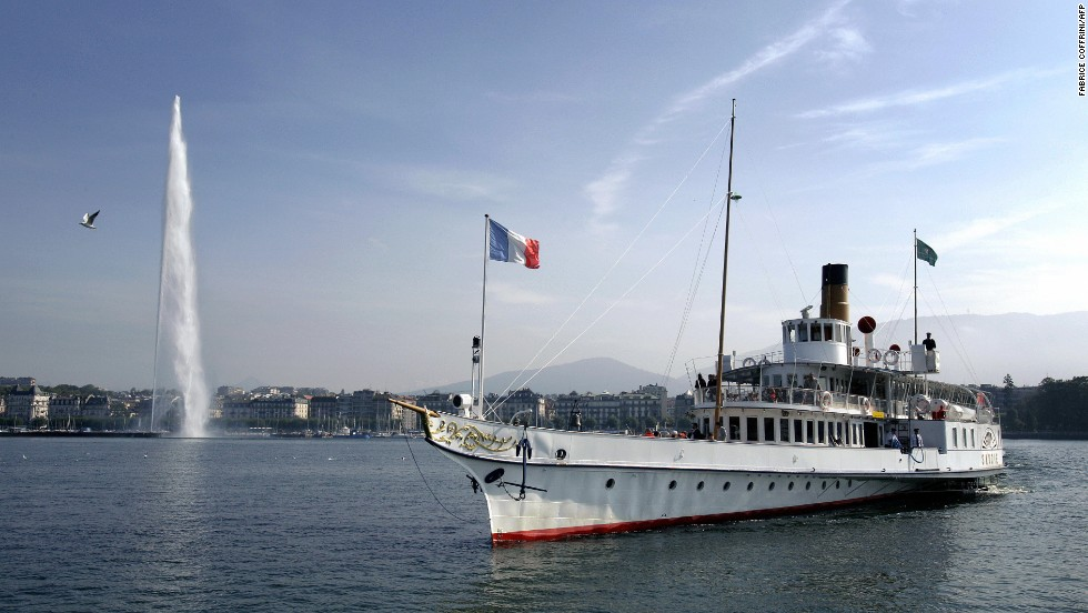 Geneva, Switzerland fell one notch in ECA's 2013 survey of priciest expat cities. In this photo, the 'Savoie' a paddle wheel boat of the Compagnie Generale de Navigation sur le lac Leman, commonly abbreviated to CGN, sails in front of the Jet d'Eau fountain.