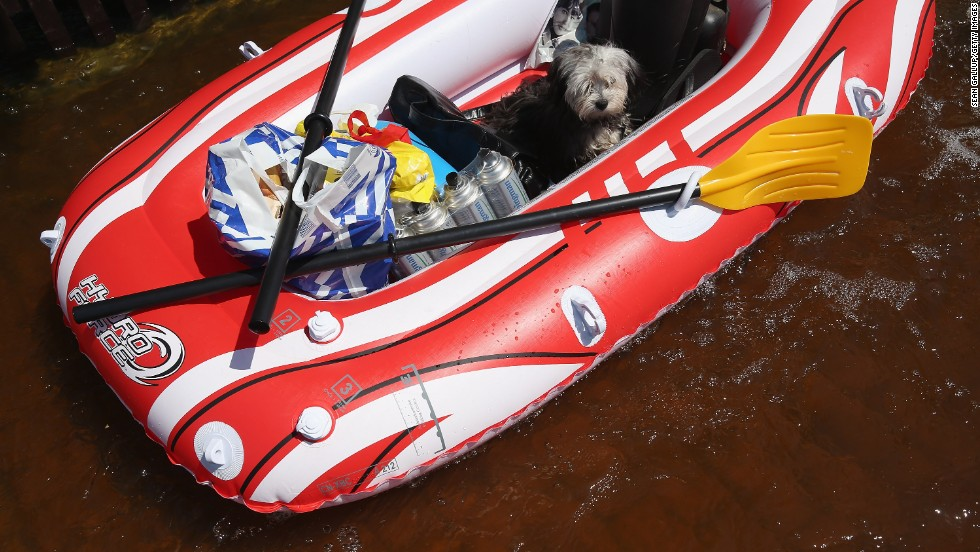 A dog finds a spot on a rubber raft among groceries and bottles of butane as his owner pulls him through a flooded street in Elster, Germany, near the swollen Elbe River on Friday, June 7.
