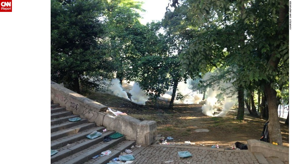 "An <a href=""http://ireport.cnn.com/docs/DOC-982570"">iReporter </a>who wished to remain anonymous sent in this image of smoke or tear gas canisters in a park in Istanbul Saturday."