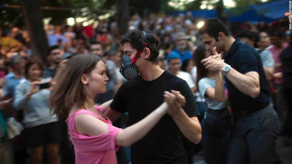 Protestors dance at Gezi Park in Taksim Square on Thursday, June 6.