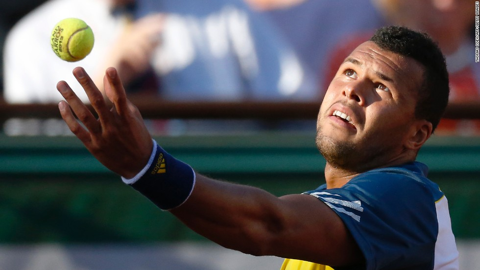 Tsonga serves to Ferrer on June 7.