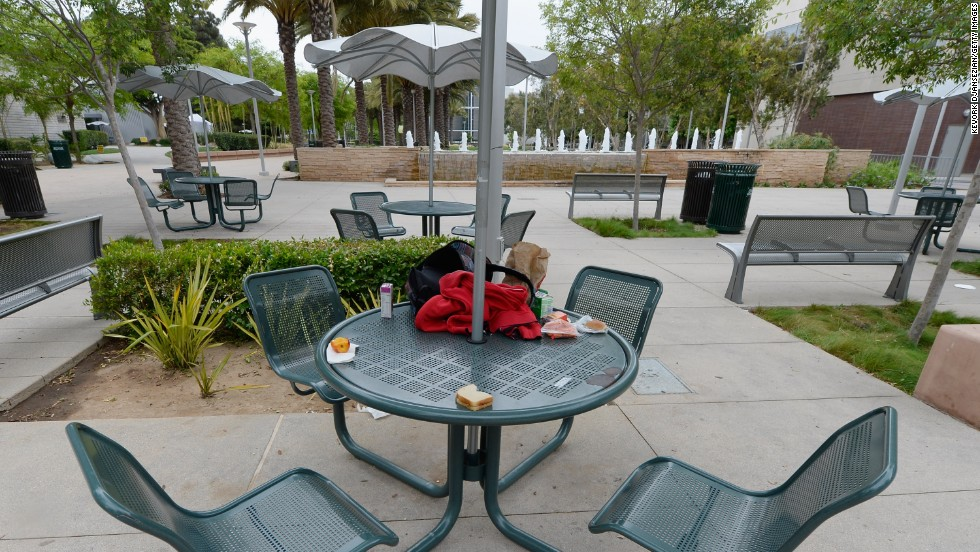 Backpacks and food are left behind after students fled the campus.