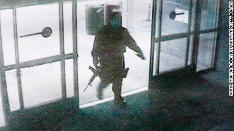 Another angle of the gunman entering the library.