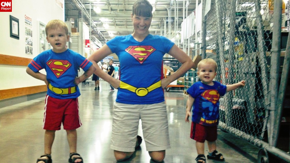 "<a href=""http://ireport.cnn.com/docs/DOC-978958"">Steve Crawford</a> photographed his wife, Lisa, and his two sons dressed up as a superman family. He says his son, Brendan, has been on a Superman kick and insisted that his mom and younger brother join him in dressing up as the ""Man of Steel."" Often, he said, Superman is the first superhero kids are exposed to. ""Kids like to pretend, and that's so far away from reality, that it's fun to imagine,"" he said, recalling that his earliest memories of Superman are from the 1980s Christopher Reeve movies."