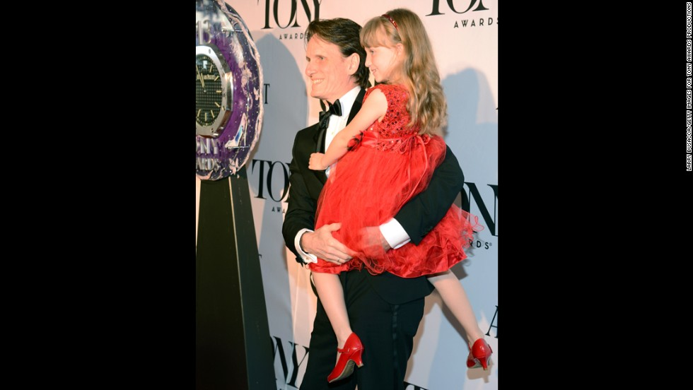 """Kinky Boots"" sound designer John Shivers arrives with his daughter."
