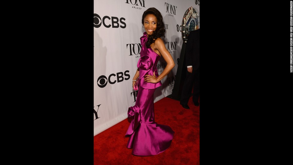 Best actress nominee Valisia LeKae arrives at the Tonys.