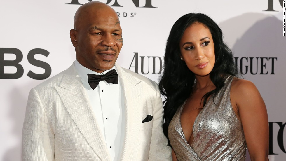 "Mike Tyson, star of ""Undisputed Truth"" on Broadway, arrives with Lakiha Spicer."