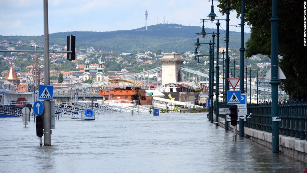 The embankment at the Pest side of Budapest is flooded on June 10. Emergency services and volunteers worked through the night in Hungary as floodwaters threatened towns and villages.