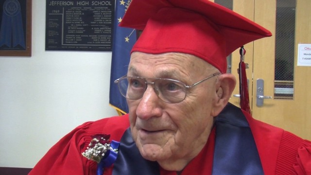 WWII vet finally dons HS cap and gown