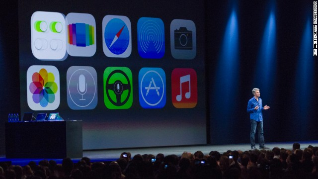 Apple's Craig Federighi introduces iOS 7 in June in San Francisco.
