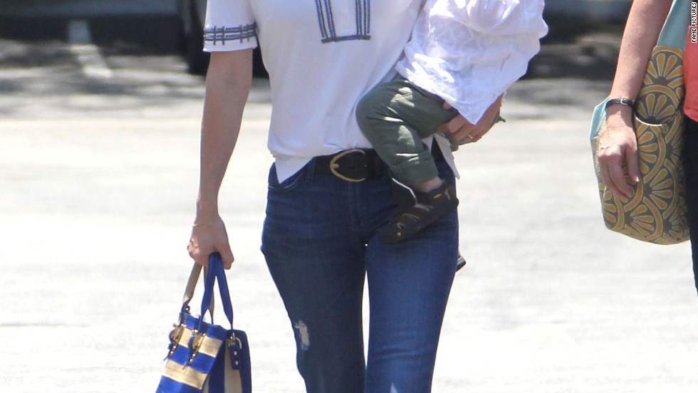 January Jones out with her son Xander.