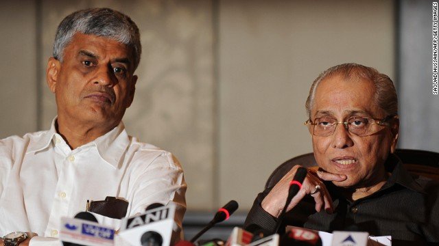 The BCCI's interim president, Jagmohan Dalmiya, right, and secretary Sanjay Patel, announce a clean-up of Indian cricket.