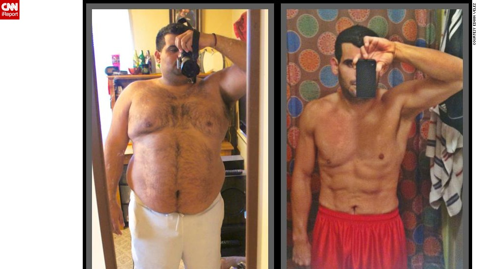 After seeing photos from a beach vacation, Edwin Velez decided he needed a change. At 310 pounds, he embarked on a new diet and exercise regimen in November 2011. Today, he weighs 155 pounds, and is working on shaping and toning his body.