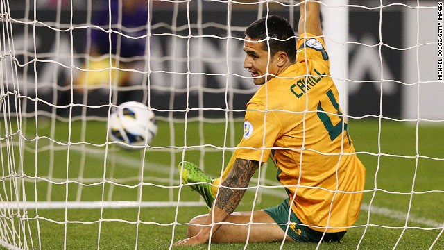 Tim Cahill celebrates after scoring for Australia in their 4-0 demolition of Jordan