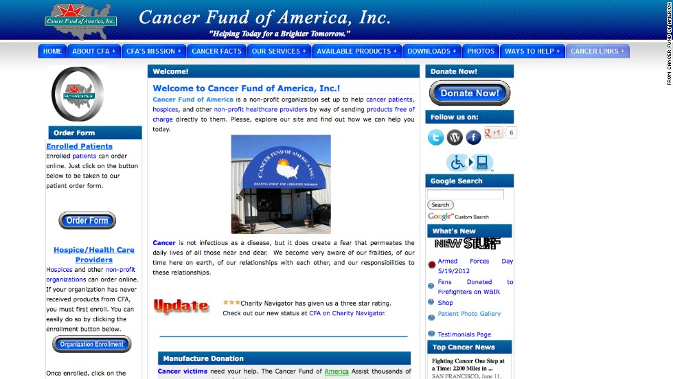 "<a href=""http://www.tampabay.com/americas-worst-charities/charities/cancer-fund-of-america"" target=""_blank""><strong>No. 2: Cancer Fund of America:</a></strong> CFA raises millions yearly and sends 82% to its for-profit fund-raisers. Over the past decade, fund-raisers have collected $98 million in donations. Patients have gotten less than $1 million in direct cash aid over those 10 years, IRS records show. The group's founder said, ""We can only help others with the funds we net whether it be 90 or 20%."""