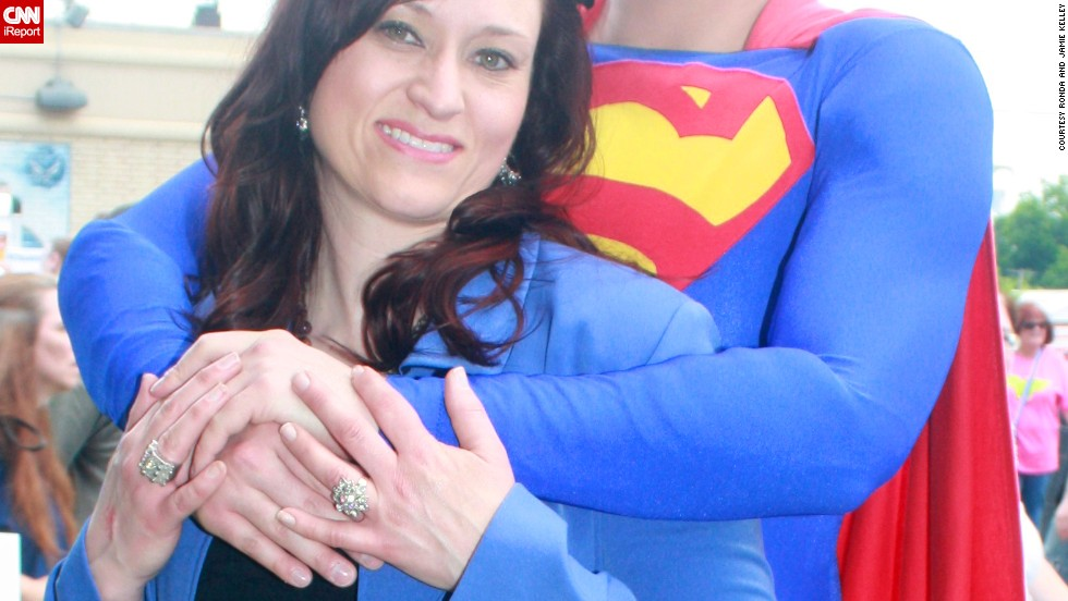 "<a href=""http://ireport.cnn.com/docs/DOC-986894"">Jamie Kelley, </a>here with his wife, Ronda, got married on October 9, 2009 - 13 years to the day after Clark Kent married Lois Lane in the comics. The couple often visits Metropolis, Illinois, for its annual <a href=""http://www.cnn.com/2013/06/06/travel/town-where-superman-lives/"">""Superman Celebration."" </a>As for why Superman has been such a big part of Kelley's life, he said the character has an aspirational quality he admires. ""The idea of what we can be, if we hold fast to our humanity, our hopes. Superman's embodiment of this is my favorite memory of the character, what draws me to him, and why he is so iconic."""