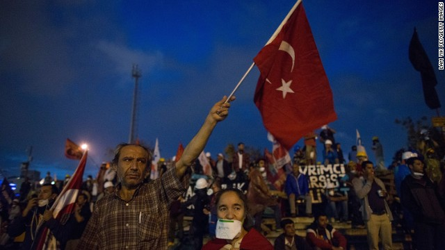 Thousands gathered at Taksim Square after riot police cracked down on protests on June 12  in Istanbul.