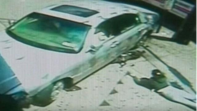 Mom, baby dodge runaway car
