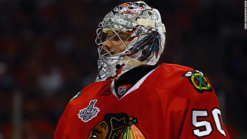 Blackhawks goalie Corey Crawford looks on during Wednesday night's game against the Bruins.