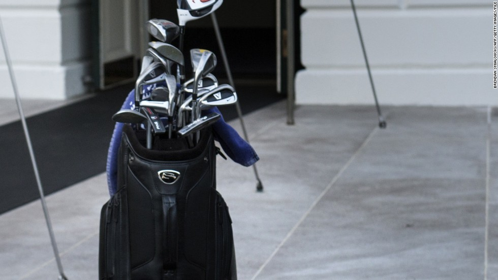 Obama spent the weekend after his re-election in 2012 playing golf at Andrews Air Force Base in Washington. His clubs are seen here in front of the entrance to south portico of the White House, with the number 44 stitched into the bag representing his place in the line of U.S. presidents.