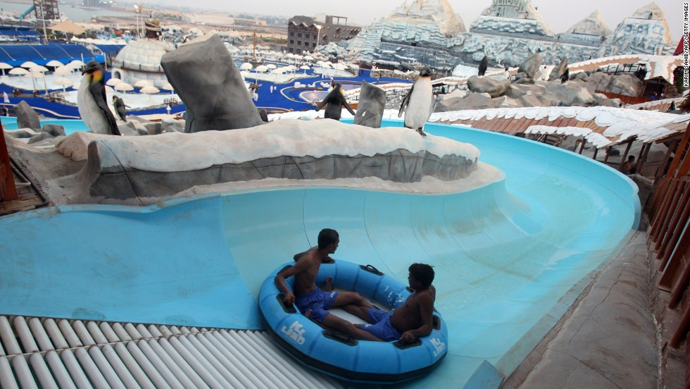 Ras al-Khaimah -- Abu Dhabi and Dubai's often overlooked neighbor -- is no stranger to wacky tourist attractions. Ice Land Water Park, which claims to be the largest theme park in the region, offers visitors a a variety of rain showers, including ones that double as a disco and another as a soccer pitch. There is also a fictional backstory to explain all the penguin sculptures (the penguins were moored at the park after climate change melted their home).