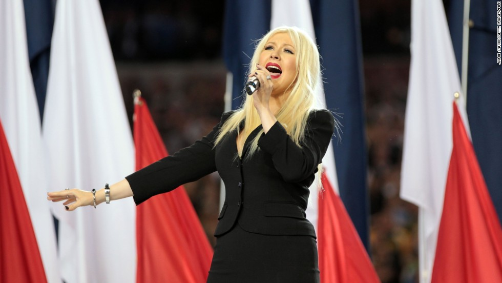 "No stranger to performing the national anthem, Christina Aguilera nevertheless forgot some of the words when she did the song at Super Bowl XLV in February 2011. ""I got so lost in the moment of the song that I lost my place,""<a href=""http://marquee.blogs.cnn.com/2011/02/07/christina-aguilera-does-know-the-words-to-the-national-anthem/""> Aguilera told CNN</a>."